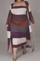 Fashion Stripe Big Size Vest Skirt Coat Long Coat Two-Piece CCY1416