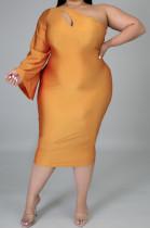Inclined Shoulder Long Short Slevees Cultivate One's Morality Bind Dresses K2036