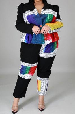 Fashion Spliced Printing Big Size Joker Cardigan Coat Two-Piece CCY1437