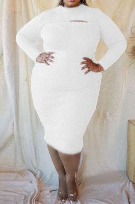 Pure Color Plush Cloth keep Warm Casual Long Sleeve Plus Mini Dress CCY1434