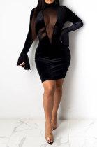 Sexy Net Yarn Spliced Velvet High Neck Horn Long Sleeve Temperament Mini Dress WMZ2623