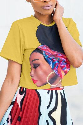 Pure Color Printing Short Sleeves Fashion Blouse LD8309