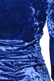 Blue Fashion Velvet Pleated Two-piece Women's Fall/Winter Casual Suit SN390070