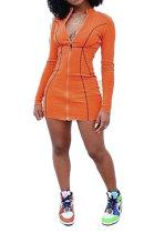 Pure Color Printing Zipper Long Sleeve Mini Dress JZH8026