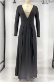 Pure Color Long Slevee Joining Together Lower Hem Open Fork Dress X9265