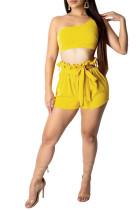 Sexy Temperament Incliner Shoulder Shorts Leisure Suit DN8195