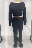 Black Midriff Long Slevee T-Shirt And Leggings Pit-Strip Two-Piece Set X9275