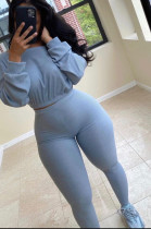 Light Blue Midriff Long Slevee T-Shirt And Leggings Pit-Strip Two-Piece Set X9275