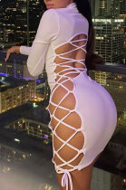 White Sexy Long Sleeve Round Neck Side Hollow Out Draw String Lacing Buttock Mini Dress BLG093136A