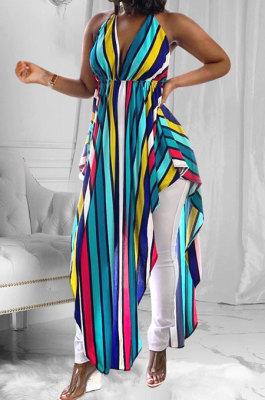 Euramerican Woemswear Halter Stripe Printing Blouse ED8211