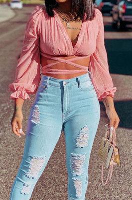 Eu'ramerican Womenswear Fashion Puff Sleeve Chiffon Dark V Neck Long Sleeve Bind Chalaza Crop Tops WSY5829