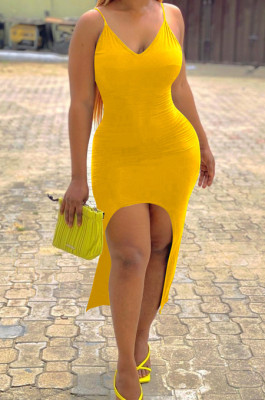 Yellow Sexy Tight Sling Vest Long Dresses LM1077