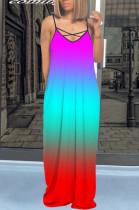 Blue Red The Gradient Tie-Dye V Neck Sling Long Dress Pockets On Both Sides QQM4191