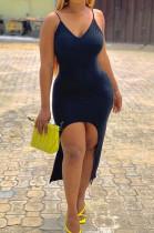 Black Sexy Tight Sling Vest Long Dresses LM1077