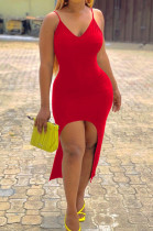 Red Sexy Tight Sling Vest Long Dresses LM1077