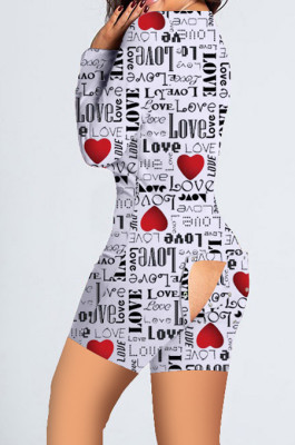 Black White Valentine's Day Printed Home Butt Pants Jumpsuit SDD9478
