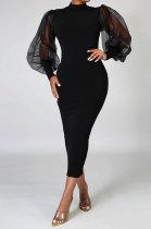 Black Women Half Turtleneck Net Yarn Perspective Puff Sleeve Cultivate One's Morality Midi Dress MA6561