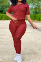 Wine Red Sportsuit With Short-Sleeved Yoga Pants With Round Neck SN390071