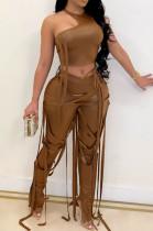 Coffee Night Club Sexy Vest Bind PU Lmitation Leather Pants AL154