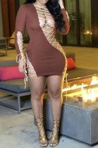 Coffee Euramerican Womenswear Long Sleeve Sexy Bind Mini Dress R6405