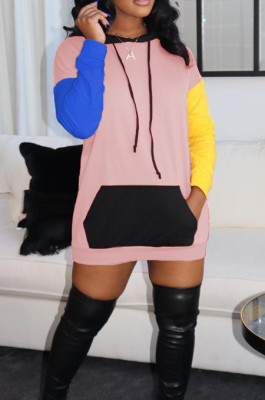 Pink Fashion Casual Joining Together Contrast Color Hooded Short Dress ML7418