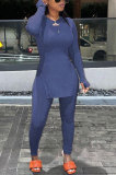 Light Purple Round Neck Casual Long Sleeve Pencil Pants Side Open Fork Two-Pieces N9270