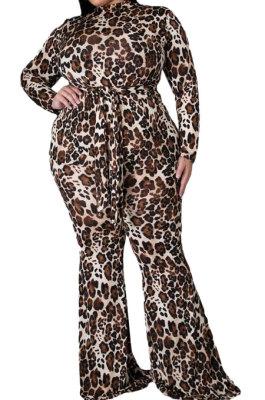 Brown Big Size Euramerican Women Trendy Leopard Printing Casual Plus Jumpsuit WA7137