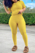 Yellow Sportsuit With Short-Sleeved Yoga Pants With Round Neck SN390071