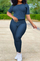 Navy Blue Sportsuit With Short-Sleeved Yoga Pants With Round Neck SN390071