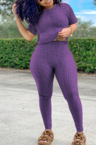 Purple Sportsuit With Short-Sleeved Yoga Pants With Round Neck SN390071