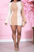 Pink Euramerican Trendy Sexy Falbala Pit Bar Spliced Package Hip Skirt Mini Dress N9269