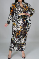 Black Leopard Big Size Women Digital Printing Cultivate One's Morality Long Sleeve Skirts Plus Skirt Sets YZ1020