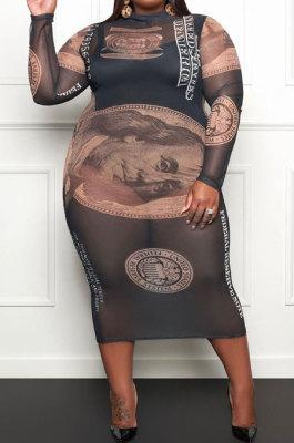 Black Euramerican Women Net Yarn Printing Cultivate One's Morality Long Sleeve Plus Midi Dress YZ1023