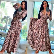 Leopard Euramerican Women Digital Printing Cultivate One's Morality Casual Long Dress YZ2407