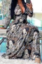 Black Euramerican Women Digital Printing Cultivate One's Morality Casual Long Dress YZ2408