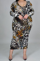 Leopard Skirt Big Size Women Digital Printing Cultivate One's Morality Long Sleeve Plus Long Dress YZ1019