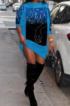 Light Blue Fashion Starry Sky Hoodie Loose Dresses SDE2967