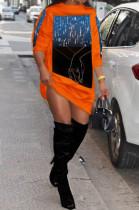 Orange Fashion Starry Sky Hoodie Loose Dresses SDE2967