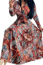 Red Euramerican Women Digital Printing Cultivate One's Morality Casual Long Dress YZ2408