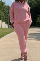 Pink Autumn And Winter Printing Hooded Pearl Two-Piece SDE1081