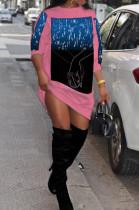 Pink Fashion Starry Sky Hoodie Loose Dresses SDE2967