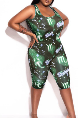 Green Fshion Starry Sky Printing Casual Jumpsuits TK6091