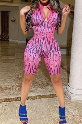 Pink Fashion Hole Hole Net Print Tight Jumpsuits TK6081