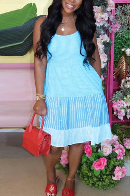 Sky Blue Casual Fashion Color Catching Sling Dress TK6092