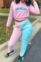 Pink Blue Euramerican Women Sport Spliced Printing Fleece Long Pants Two-Pieces AD0921