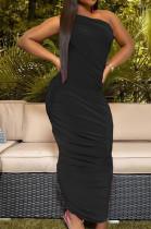 Black Fashion Sexy Shrink Fold Pure Color Dresses TK6080