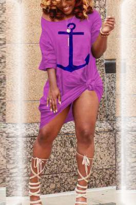 Purple Print Loose Casual Pullover Dresses TK6082