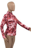 Multi Euramerican Women Lovely Printing Tie Dye Long Sleeve Round Neck T Shirts TD8008