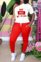 Red Letterprint Casual One-Sleeve Two-Piece TK6093