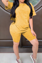 Yellow Summer Colored cotton Short Sleeve Shorts Trendy Two-Pieces YYF8092